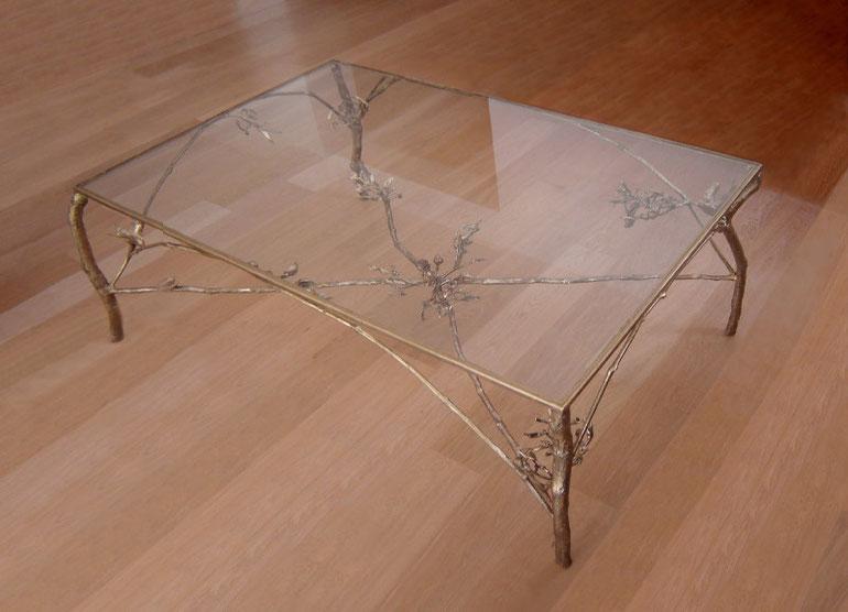 Masă, bronz şi sticlă, 120 x 80 x 50 cm
