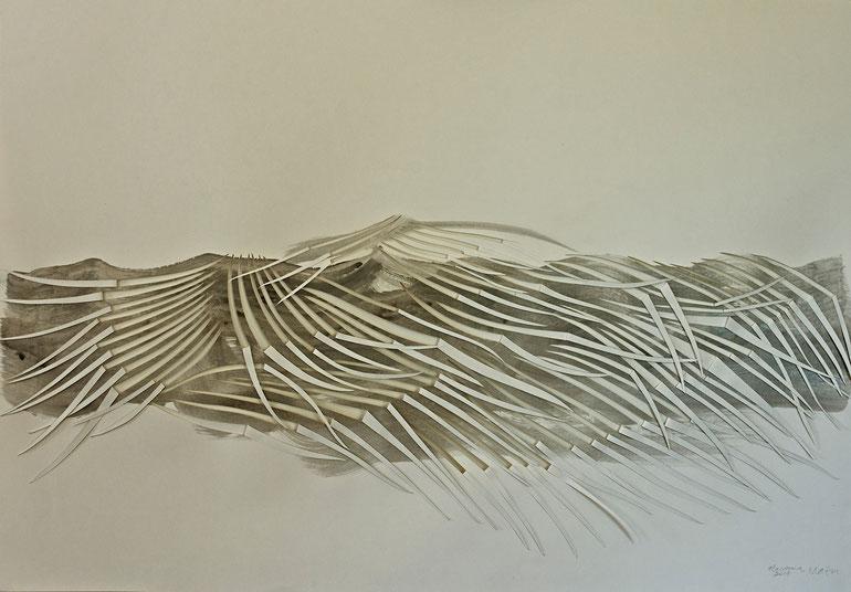 atacama  2014    broux  de  noix   acrylic   paper     70  x  100  cm