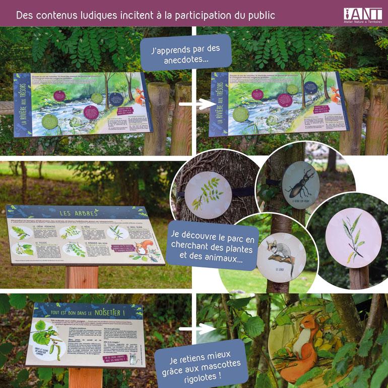 panneau pédagogique, panneau d'interprétation, parc, loisirs, activité, tourisme, nature, biodiversité, table de lecture, ludique, mascotte, illustrations