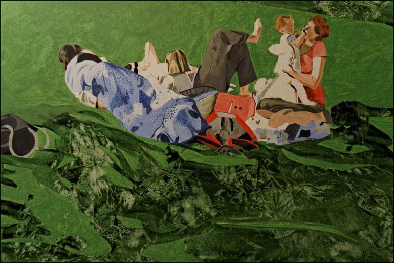 travail en cours, quatrième étape, acrylique sur toile, 130 x 89 cm