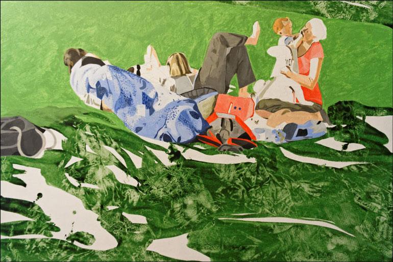 travail en cours, troisième étape, acrylique sur toile, 130 x 89 cm
