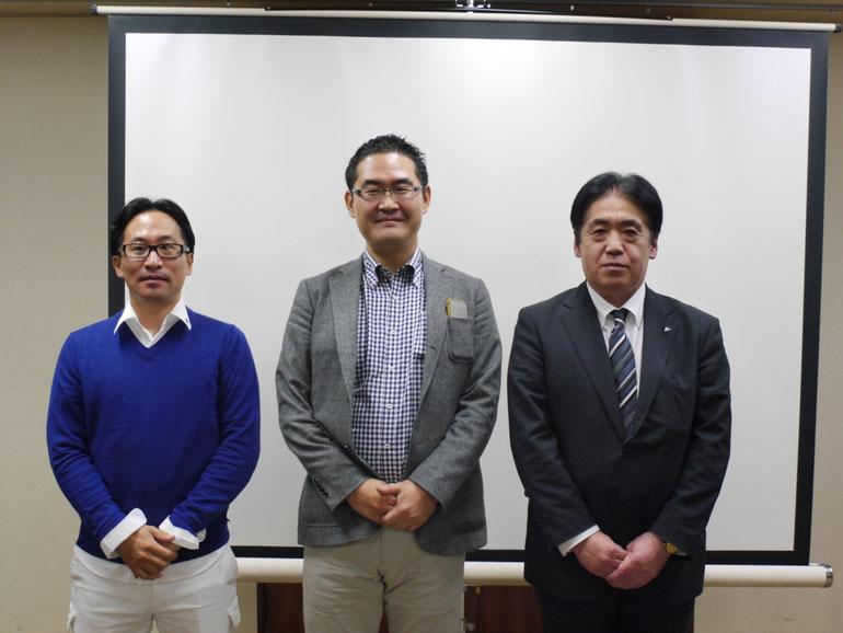 講師集合写真 左から、清水信宏さん・原田塾長・畠山則和さん