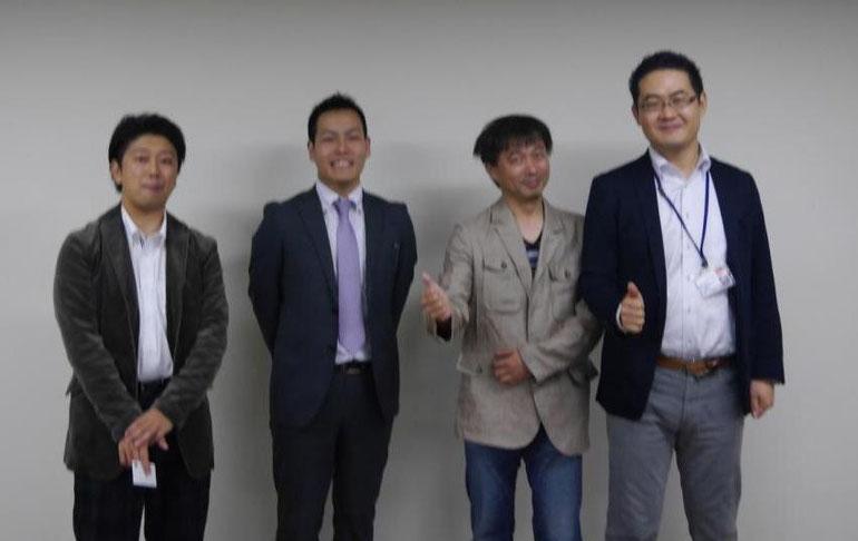 講師集合写真 左から、駆動孝二さん・中村圭さん・成田勉さん・原田塾長