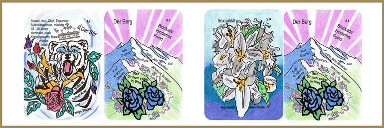 Bär, Berg und Lilie Lenormandkarten