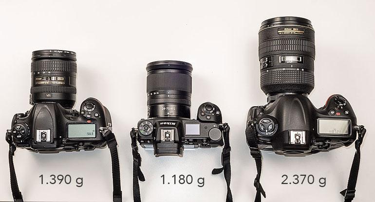 Vergleich Größe und Gewicht zwischen NIKON D500, Z7, D4. Foto: bonnescape.de