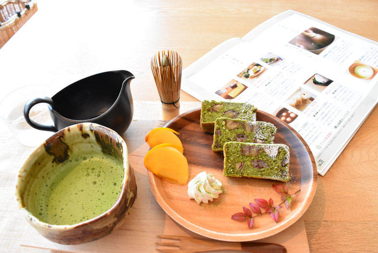 抹茶+「栗のケーキ と 柿」・・・とても美味しかったです