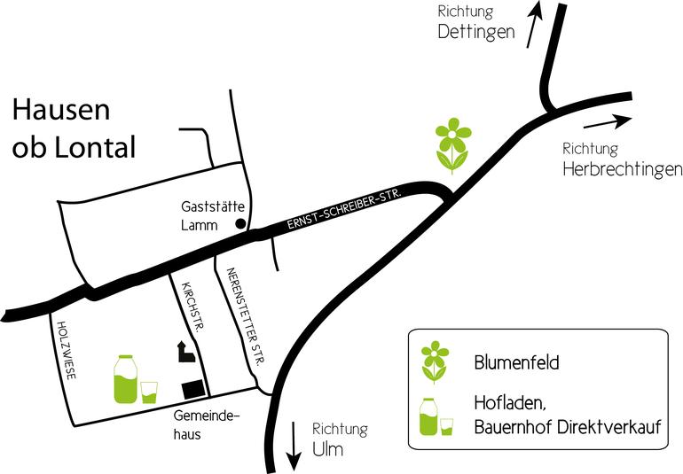 Bild: Anfahrtsskizze zur Anfahrt zum Blumenfeld und Milchautomat der Familie Renner - Hofbauer Hausen ob Lontal