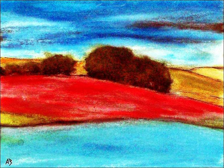Hügellandschaft, Bäume, Pastellmalerei, Gemälde, HügelFluss, See, Himmel, Wolken, Pastellgemälde, Moderne Malerei, Pastellbild