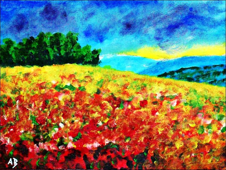 Blumenwiese, Hügel, Acrylgemälde, Bäume, Wald, Blumen, Wiese, Felder, Acrylmalerei, Acrylbild, Original Acrylic Landscape Painting