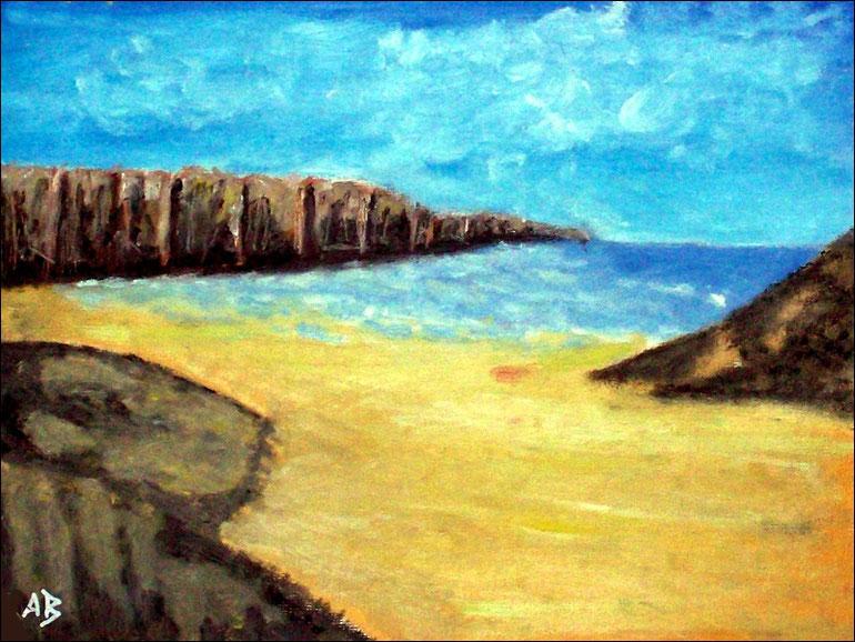 Küstenlandschaft, Pastellgemälde, Meer, Steilküste, Felsen, Strand, Pastellmalerei, Pastellbild
