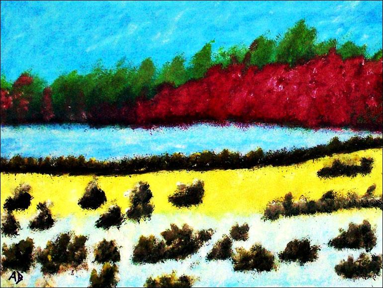 Flusslandschaft, Ölmalerei, wald, Bäume, Fluss, Wasser, Büsche, Wiese, Feld, Ölgemälde, Ölbild, Landschaftsbild