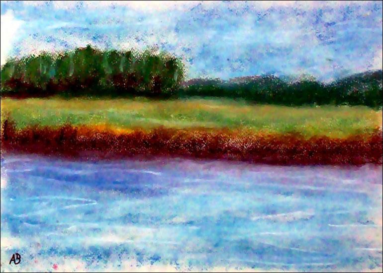 Am Fluss, Pastellgemälde, Wald, Bäume, Büsche, Feld, Fluss, Gras, Wiese, Landschaftsbild, Pastellmalerei