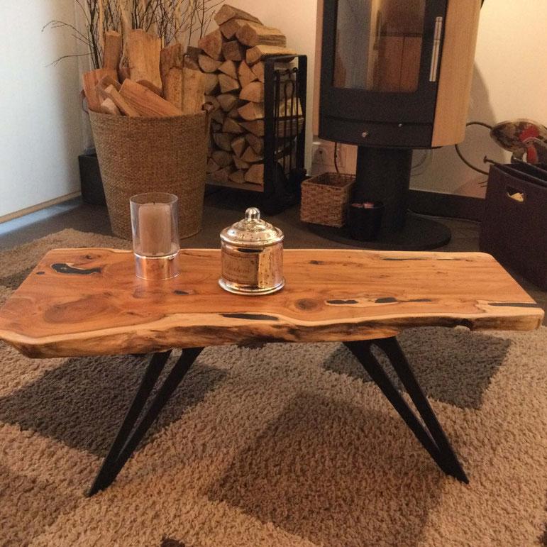 pied de table basse en métal coloris noir