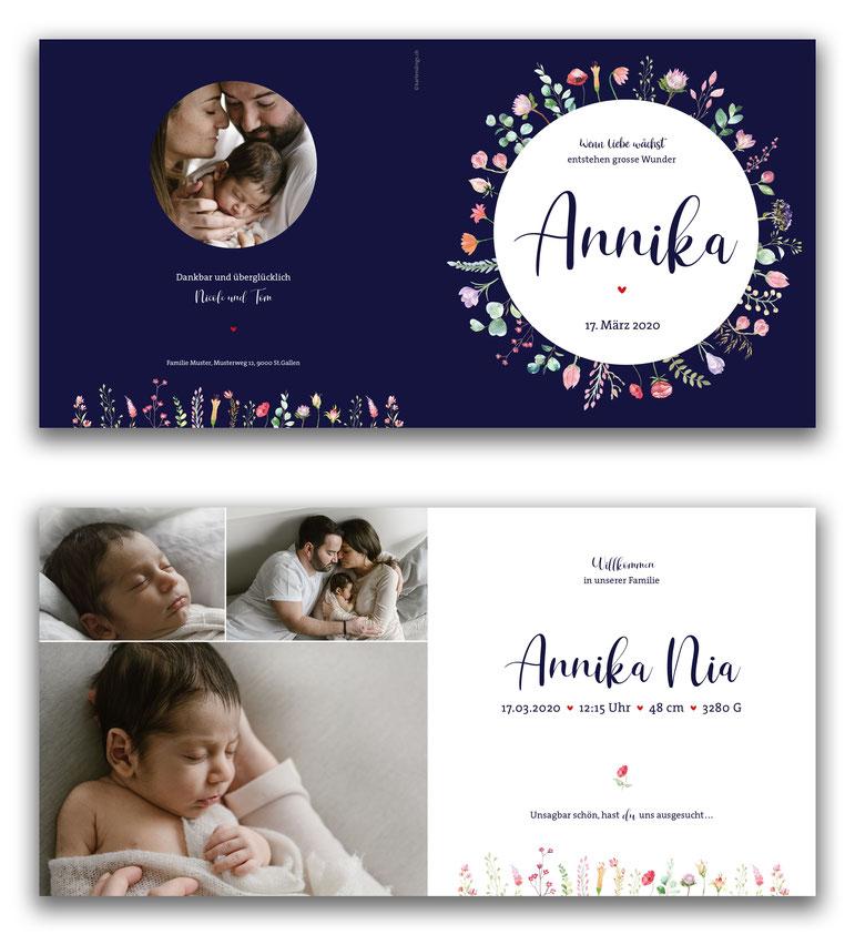 Geburtsanzeige Geburtskarte spezielle kreative 4-seitig Schweiz kartendings.ch