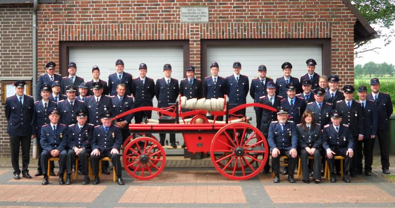 Ein Gruppenbild von 2010 vor unserem Gerätehaus mit der historischen Spritze.
