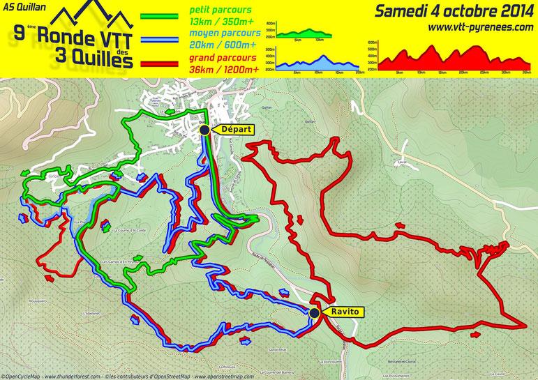 Carte de la Ronde VTT des 3 Quilles 2014