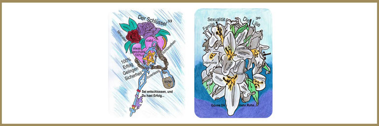 Lenormandlernkarten Schlüssel und Lilie