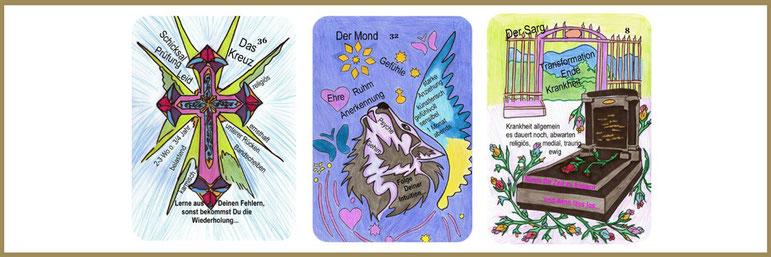 Lenormandlernkarten Kreuz, Mond und Sarg