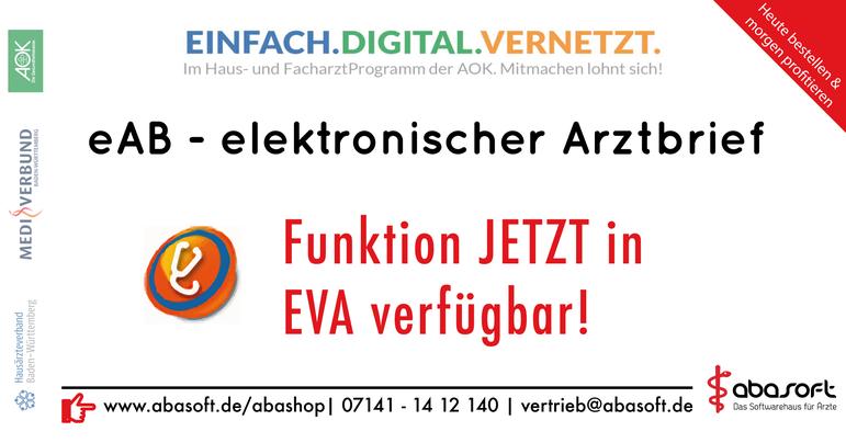 abasoft Praxissoftware Arztsoftware EVA PVS Einfach.Digital.Vernetzt Neu Hausärzteverbund Mediverbund AOK eAB elektronischer Arztbrief
