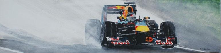 Regenrennen, Formula I, Acryl auf OSB, 40 x 160 cm