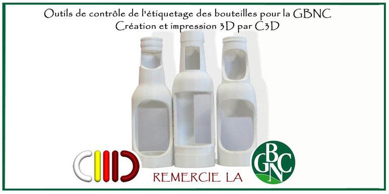 © C3D nc impression 3D - Outils Gabarits de contrôle étiquetage bouteille brasserie GBNC