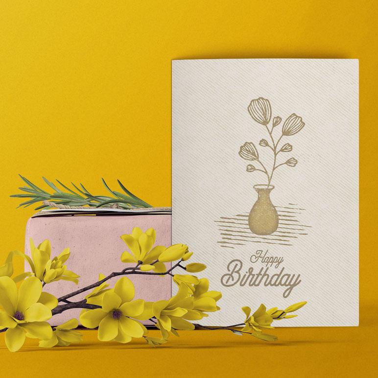 Geburtstagskarte ›Happy Birthday - Blume‹ von Lazy Day Paper