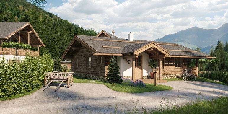 Visualisierung eines modernen und doch traditionellen Hauses im Ennstal im Chalet Look