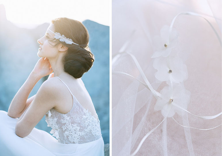 Haarband mit Seidenorganza Blüten. Brauthaarschmuck 2020 2019 - Bohemian Boho 20er Jahre Brauthaarschmuck aus Seide . Kopfschmuck aus Seide in Ivory. Headpiece wedding. Silk hair accessorie for the boho look.