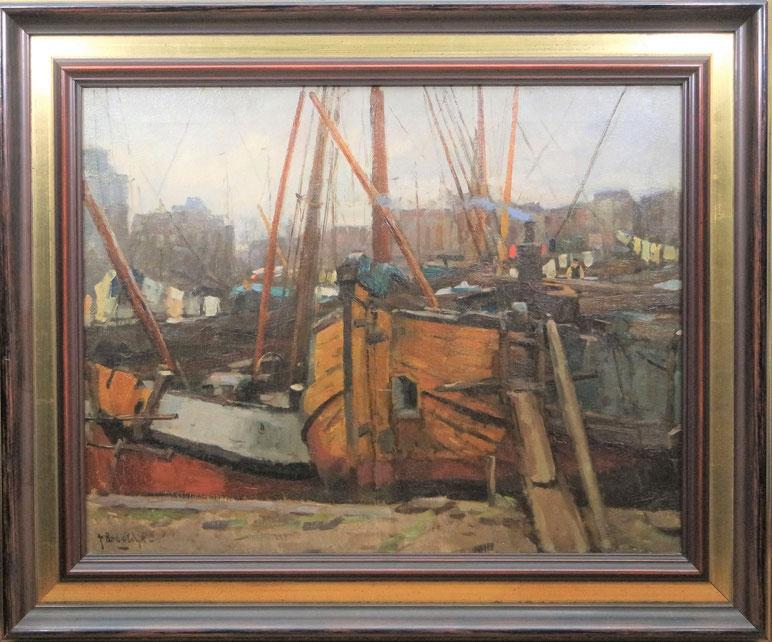 te_koop_aangeboden_een_havengezicht_van_de_nederlandse_kunstschilder_felicien_bobeldijk_1876-1964
