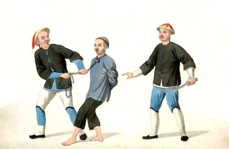 Les punitions des Chinois. Texte de George Henry Mason. Gravures de J. Dadley. G. Miller, Londres, 1801. 2. Un accusé conduit en prison.