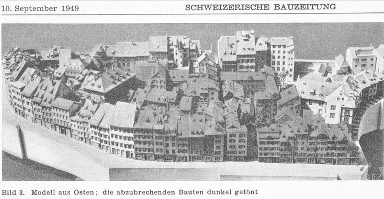 """Basel 1950, Talentlastungsstrassen-Bauprojekte: ein Modell aus """"Schweizerische Bauzeitung"""" des Abrisses von Bauten (darunter der Andreasplatz)"""