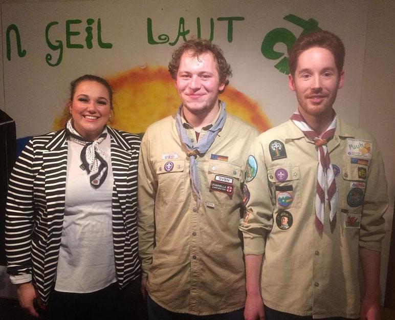 Lisa Bulla als Kuratin und Sven Tischler als Vorstand neben Fabian Stuhldreier gewählt (v. l.)