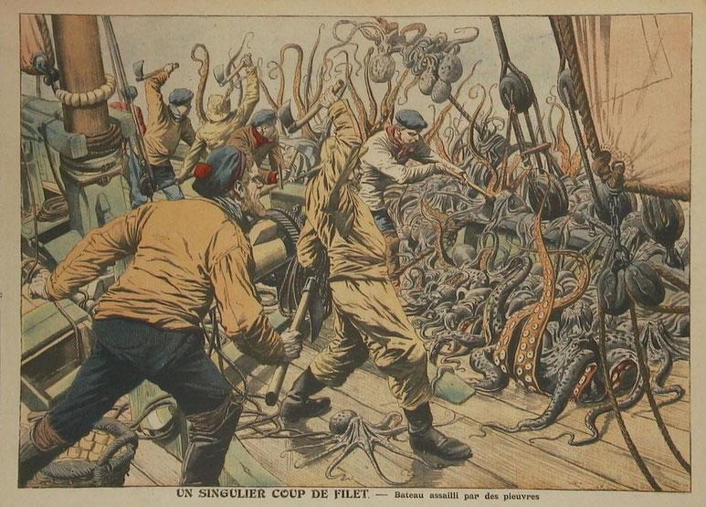 Le dessinateur du petit journal illustré ne connaissait certainement pas bien les bisquines pour dessiner le pont d'un sloup !