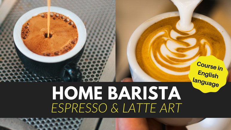 Home Barista and Latte Art Course. How to make perfect espresso at home and foam milk for latte art.