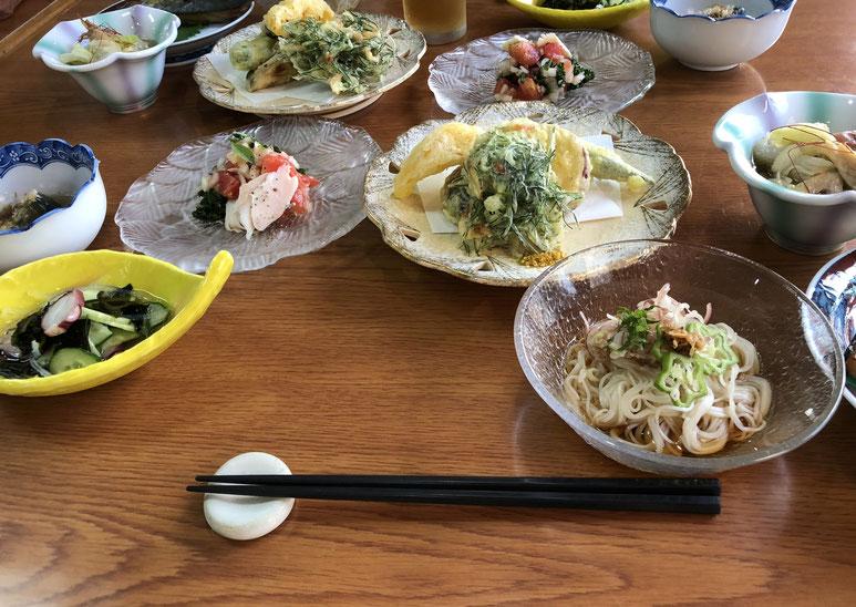 夕食の一部。オカヒジキのかきあげは初めてでした。朝食のフェンネルの茎のきんぴらも初めてでおいしかった。