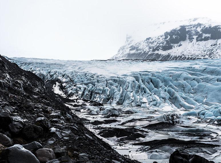 Gletscherlandschaft als Farb-Photographie, Island/Iceland