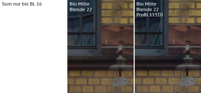 Vergleich mit Leica M9 bei Blende 22: Summicron-M 2,0/35mm Asph. vs. Biogon ZM 2,0/35mm ohne/mit Profil. Foto: Klaus Schoerner