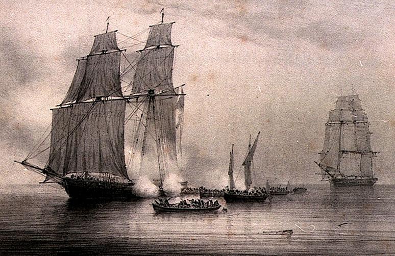 Combat Soutenu par le capitaine  Malo Lenouvel commandant le Corsaire de St Malo l' Amélie, contre 7 péniches de la frégate Anglaise la Fortunee, (10 février 1811)