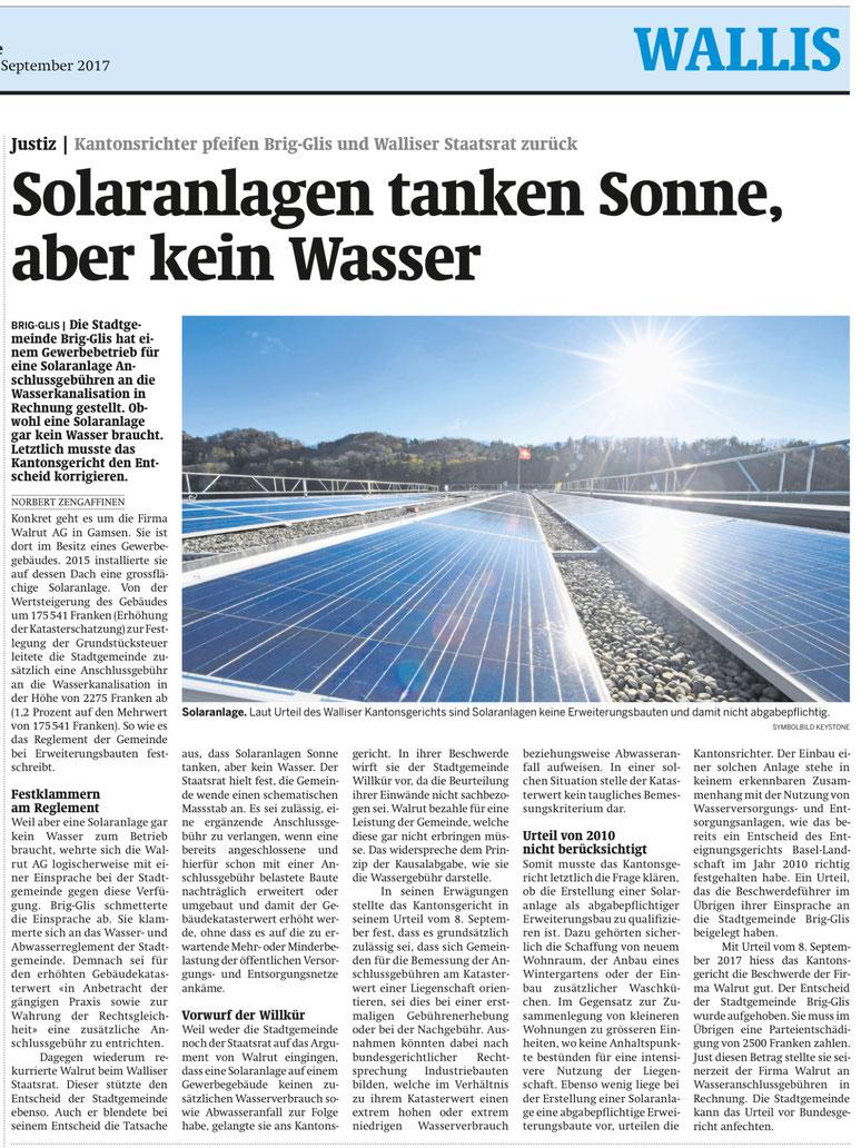 Artikel erschienen im Walliserbote vom 17. September 2017