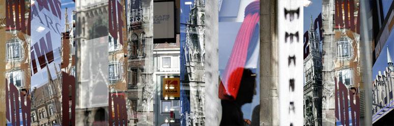 Der Marienplatz in München, Bayern, als Montage einzelner Bilder wie ein Barcode in color als Panorama-Photographie