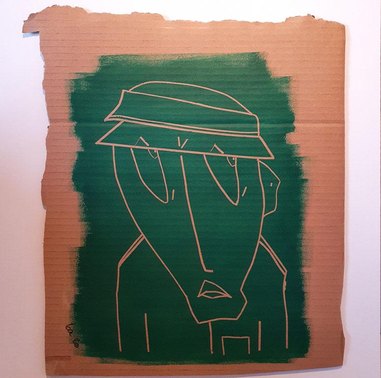 Cardboard Art Bild eines verdächtigen Mannes