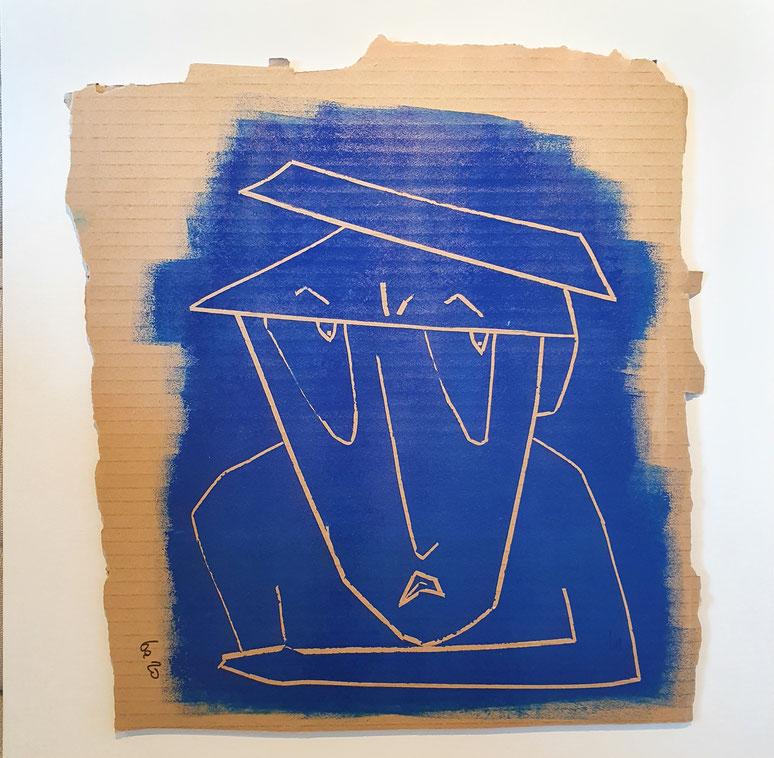 Cardboard Art Bild von einem wartenden Mann