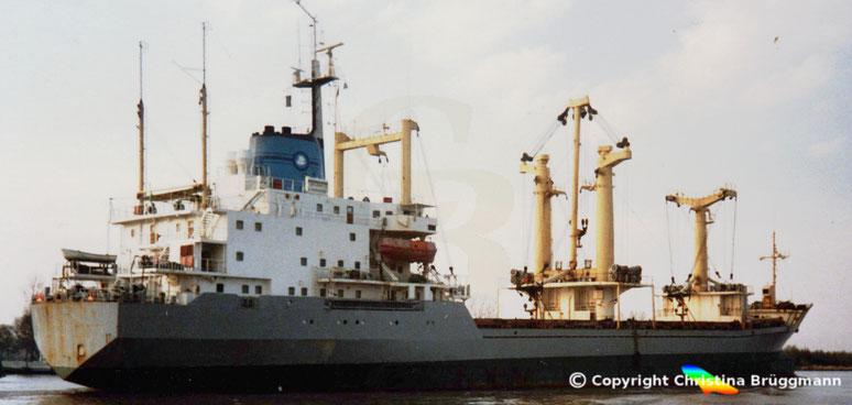 Stückgutfrachter EL HASHAISHI, Nord-Ostsee Kanal 1990