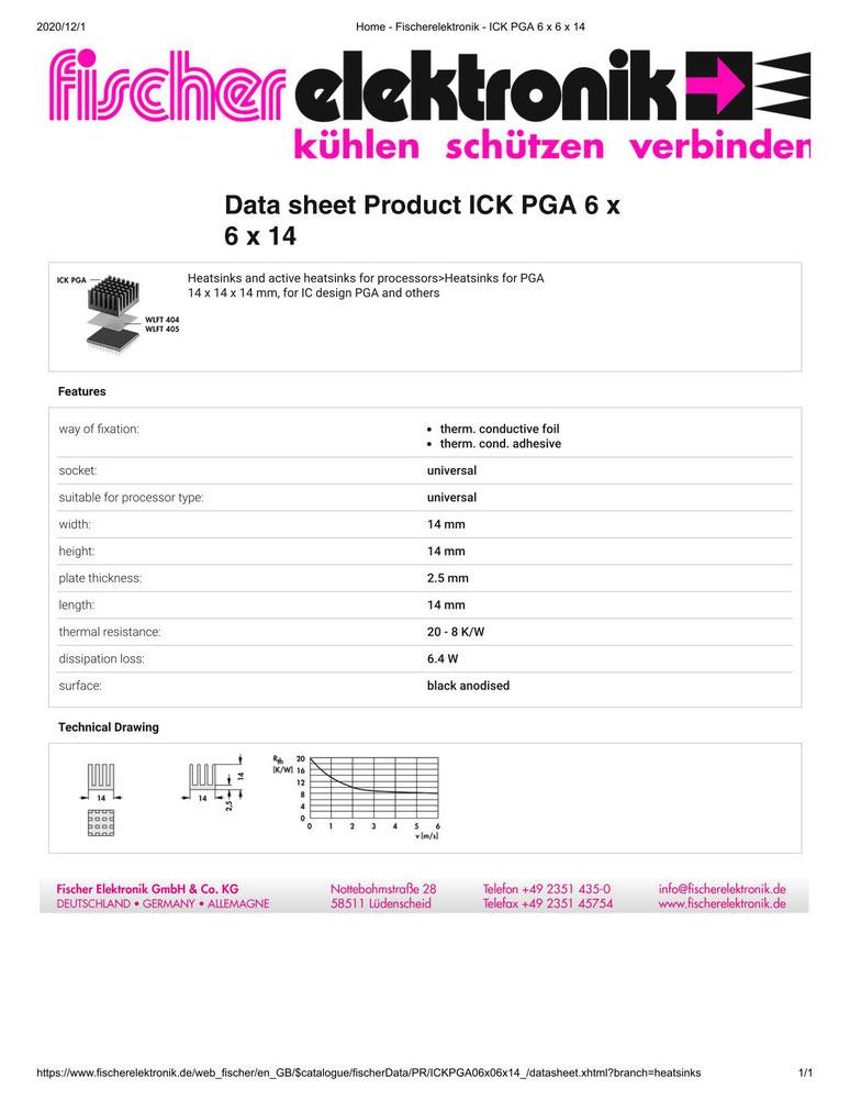 ICK PGA 6x6x14  Fischer /フィッシャー PGA用 ヒートシンク