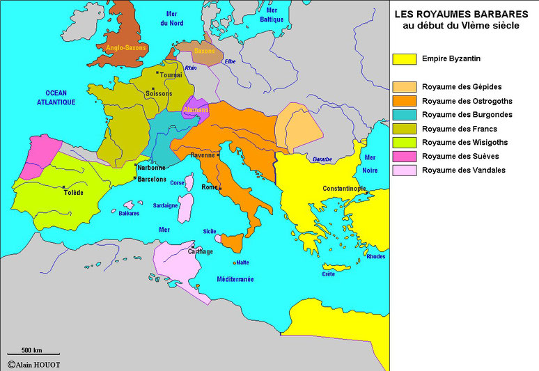 L'empire d'occident est partagé entre les différents royaumes barbares (Wisigoths, Ostrogoths, Vandales, Burgondes, Francs...), la fille du roi du sud est cédée.