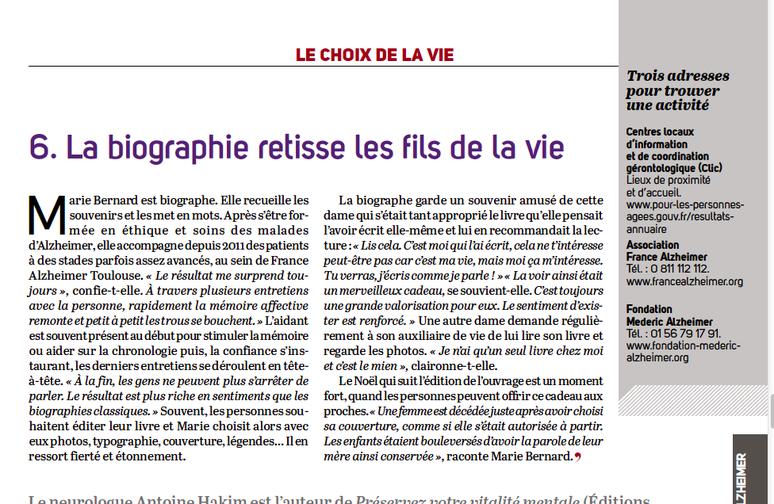 """Dossier """"Mieux vivre avec Alzheimer"""", """"La Vie"""", 15 septembre 2016, p.16-27"""