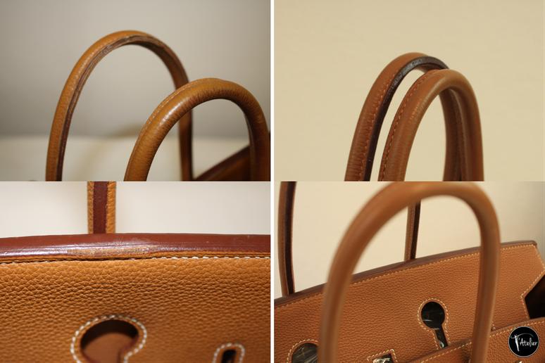 Hermès Birkin Bag: Aufarbeitung der Henkel und aufgeplatzten Leder, Auffrischung der Farbe