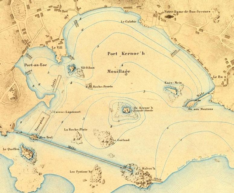 Plan du port de l'île de Batz dans l'atlas des ports de France de 1877