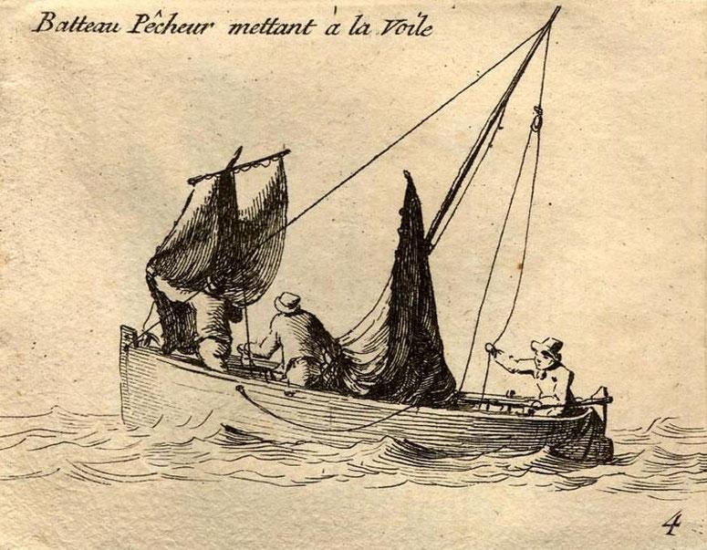 Petite chaloupe gréant misaine et grand-voile, la misaine est bien petite (Gravure Pierre Ozanne)