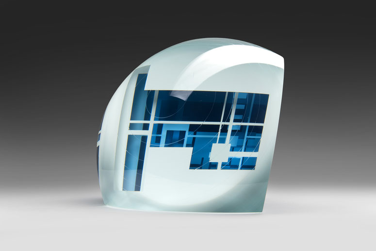 Blue Cage | cut, ground, hand polished glass | 30 x 30 x 23 cm | 2019